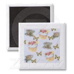 Cupcake & teacup & butterfly illustration fridge magnets from Zazzle.com
