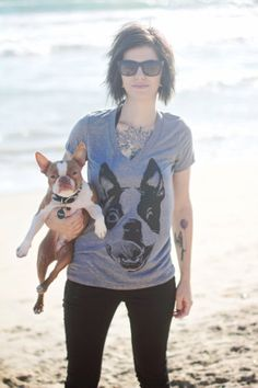 Hey, I found this really awesome Etsy listing at http://www.etsy.com/listing/95571245/women-boston-terrier-smile-grey-v-neck