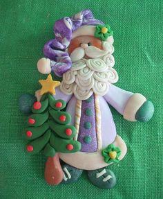 *POLYMER CLAY ~ Old World SANTA Milestone Christmas Ornament w Tree Star.