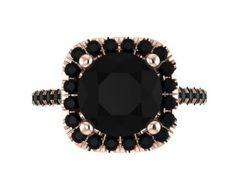 Halo Black Diamond Engagement Ring Wedding Ring 14K Rose Gold with 8mm Round Black Diamond Center - V1090