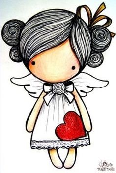 Stick Figure Drawing, Angel Art, Rock Art, Easy Drawings, Doodle Art, Cute Cartoon, Cute Art, Painted Rocks, Art Dolls