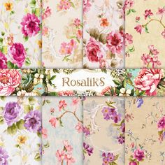 Digital Floral Paper Vintage Background Shabby Chic by rosaliks