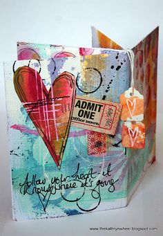"""Follow your Heart - it knows where it's going"" ~ Heart, Tags, Admit One Watercolor Doodle Art ~ Journal, Card, Tag, Scrapbook, SMASH book, Project Life"