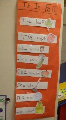 """Teresa Logan worked on the word """"the"""" (and the letters T, H, and E) in this interactive fall writing project. Children can read it later when """"reading the room"""" during literacy centers."""