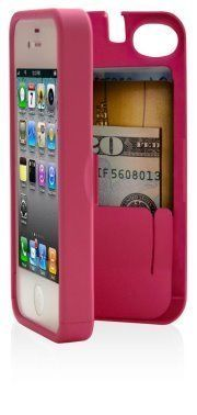 EYN Case for Apple iPhone 4/4S with built-in storage space for credit cards/ID/money - Pink:Amazon:Cell Phones & Accessories