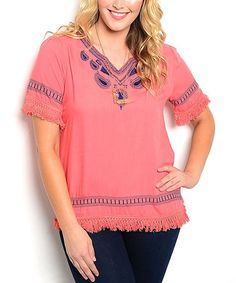 This Coral Embroidered Notch-Neck Top - Plus is perfect! #zulilyfinds