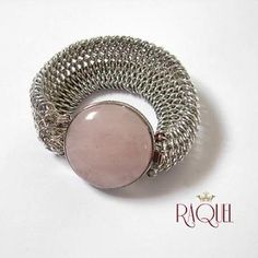 Love Magnet Dragonscale chainmaille bracelet with genuine rose quartz box clasp by cheli387 for $95.00