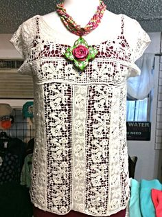 Crochet Top - Cream Short Sleeve Crochet Top - dresses up any color tank and presto!  You are ready for the day or night! Available in Small, Medium and Large - $36.00