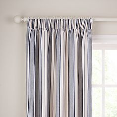 Buy John Lewis Dorset Stripe Pencil Pleat Curtains, Blue, Pair online at JohnLewis.com - John Lewis