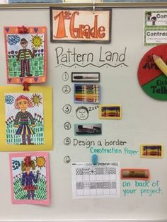 First Grade artists are enjoying the poem about Sadie and Dan from Patternland. We took an imaginary field trip to patternland and drew self-portraits! We learned about figure drawing and getting the