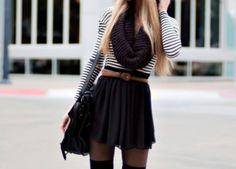 girly winter outfits tumblr sweater tights and skirt - Google Search