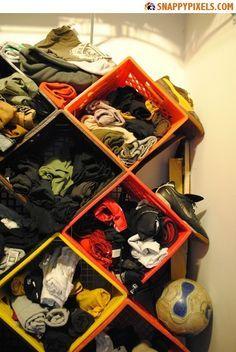 Boys' closet storage!