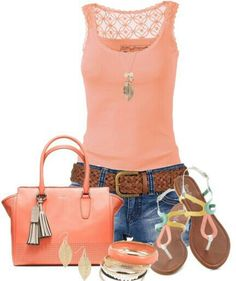 Coral & jeans