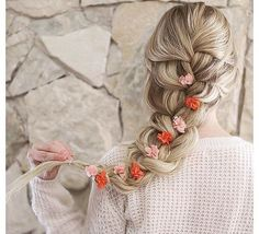 prom hairstyles, lose french braid with flowers