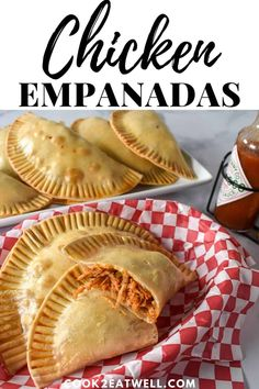 These shredded chicken empanadas are great as an appetizer snack lunch or a light dinner. In this recipe we use chicken breast that's cooked in a savory tomato sauce flavored with onions garlic spices and olives for a salty kick. Goya Empanadas Recipe, Chicken Empanada Recipe, Spanish Chicken Empanadas Recipe, Nachos, Comida Boricua, Pasta, Shredded Chicken, Mexican Dishes, Mexican Food Recipes