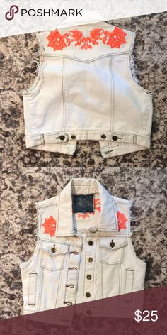 Denim vest White denim vest with orange embroidery LF Jackets & Coats Vests