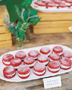 This couple ditched the traditional cake and served red velvet whoopie pies for dessert.