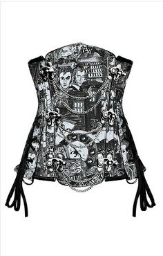 Black & White Print Steampunk Underbust Buckle Fasten & Chains