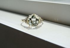 Green Amethyst Diamond Ring Mint Gemstone Engagement Ring Custom Cushion Setting 10K  Yellow Gold size 7.25