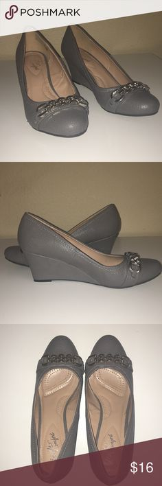 Gray Wedges Adorable Gray Wedges with a chain accent laid across the top WORN ONE TIME ONLY Perfect for any occasion! dexter comfort Shoes Wedges