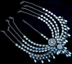 White Pearl Kundan Silver Tone 4 Layer Bridal Matha Patti Hair Accessory Jewelry   eBay Fashion Accessories, Fashion Jewelry, Long Locks, Head Pieces, Hair Accessory, Pearl White, Brides, Jewlery, Pearl Necklace