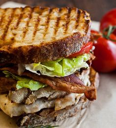 Grilled Chicken Club with Rosemary aioli - recipe adapted from A Family Feast