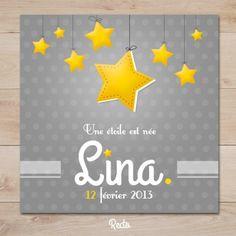 faire part naissance petite étoile gris et jaune | Sweet Paper - Création de…