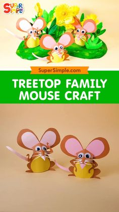 Introducing the Treetop Family mice! This craft is a great way to introduce nature themes or lessons about the changing seasons, as well as learning all about mice. Teacher tip: This craft comes with a free printable template which makes it easy to pre-cut the pieces. This way, little hands can focus on glueing and sticking skills instead of cutting. Older students can gain skills by following their patterns, tracing and cutting.