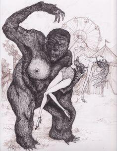 Carnival of Terrors, Horror King Kong / Circus, Burlesque girl Illustration