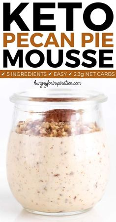 Sugar Free Keto Pecan Pie Mousse with only net carbs per serving! Super del… Sugar Free Keto Pecan Pie Mousse with only net carbs per serving! Super delicious without the effort of traditional pecan pie – an easy keto dessert or keto treat! Keto Foods, Ketogenic Recipes, Keto Snacks, Ketogenic Diet, Low Carb Sweets, Low Carb Desserts, Low Carb Recipes, Healthy Desserts, Pie Recipes