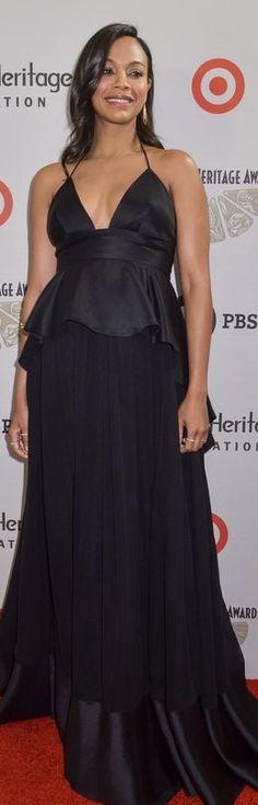 Zoe Saldana: Dress – Juan Carlos Obando  Shoes – Christian Louboutin\  Purse – Tyler Alexandra  Jewelry – Sam Lehr