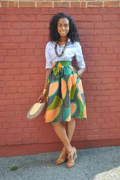 African Print Skirt The Laura Midi Skirt by CHENBURKETTNY on Etsy  #AfricanPrints #Ankara