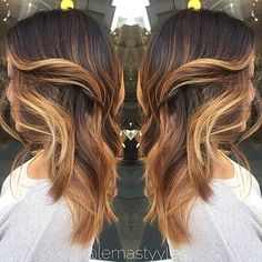Gold Caramel and Mocha Balayage Highlights