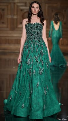 tony ward couture fall 2016 strapless embellished a line evening dress (23) mv green color