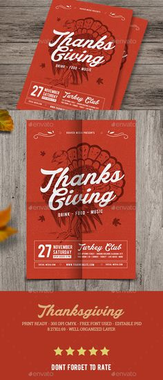 Thanksgiving Flyer  — PSD Template #poster #retro • Download ➝ https://graphicriver.net/item/thanksgiving-flyer/18557531?ref=pxcr