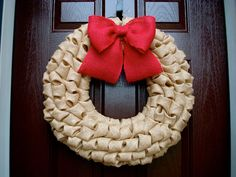 """Rustic Christmas Natural Tan Bubble Burlap Wreath with Burlap Bow - Choose Your Colors 23"""" LARGE on Etsy, $60.00"""