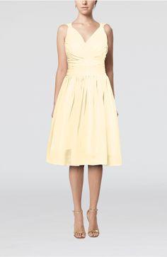 Champagne Homecoming Dress - Simple V-neck Sleeveless Chiffon Knee Length
