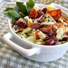 "Bean and Bacon Salad |""We really like the flavors in this salad. Nice blend of tangy and savory."""