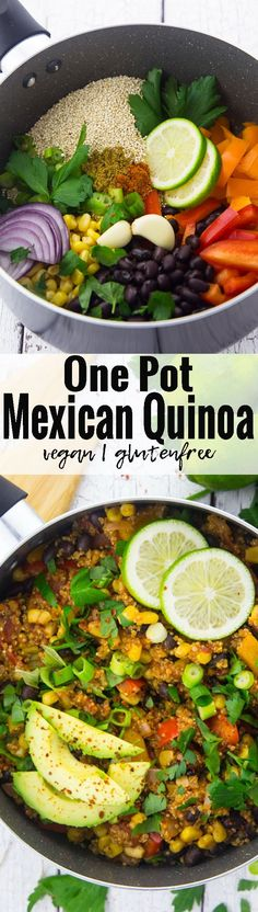 This vegan one pot Mexican quinoa chili with black beans and corn is one of my favorite vegan weeknight dinners! Vegan food can be so simple and delicious!! | Find more vegan recipes at veganheaven.org <3