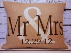 Mr & Mrs burlap personalized pillow cover in vintage white and black - Pillow Insert Sold Separately on Etsy, $38.00