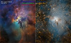 Space Stars Two Hubble images compare two diverse views of the roiling heart of a vast stellar nursery, known as the Lagoon Nebula. - Two Hubble images compare two diverse views of the roiling heart of a vast stellar nursery, known as the Lagoon Nebula. Fotos Do Hubble, Hubble Photos, Hubble Pictures, Hubble Images, Orion Nebula, Andromeda Galaxy, Hubble Space Telescope, Telescope Images, Star Nursery