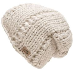 The North Face Women's Chunky Knit Beanie ($35) ❤ liked on Polyvore featuring accessories, hats, beanies, vintage white, the north face, slouch beanie hats, slouchy beanie hats, beanie cap and thick knit beanie
