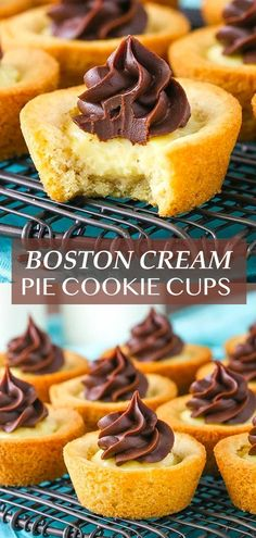 These Boston Cream Pie Cookie Cups are made with a vanilla cookie base, custard filling and chocolate ganache topping! They are delicious and such fun little cookies to bite into! Best Cookie Recipes, Pie Recipes, Dessert Recipes, Cookie Pie, Cookie Cups, Basic Butter Cookies Recipe, Gluten Free Kitchen, Boston Cream Pie, Custard Filling