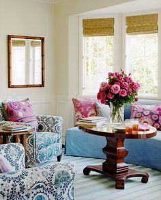 Blue and White Family Room With Texture for Extra Interest !