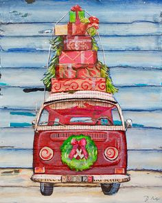 Christmas Vw Volkswagen Bus with wreath by dannyphillipsart