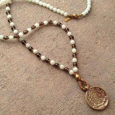 Communication and Positivity, Amazonite and Smoky quartz beaded necklace with Tibetan pendant, 108 bead mala
