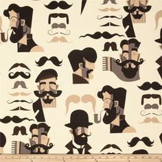 Nicole's Prints Mister Stache Tea from @fabricdotcom  Designed by DeLeon Design Group for Alexander Henry, this cotton print is perfect for quilting, apparel and home decor accents.  Colors include cream, black, brown and shades of tan.