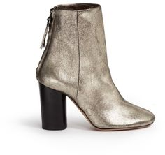 Isabel Marant Metallic Cracked Leather Ankle Boots in Gold (Metallic)