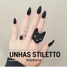 Stylish black nail designs you can do yourself pinterest pointed beleza sem drama trend unhas stiletto solutioingenieria Image collections