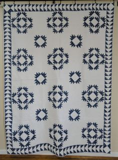 Antique Indigo Blue Delectable Mountains Quilt an 1880s Stunner! Simply Gorgeous! Vintageblessings